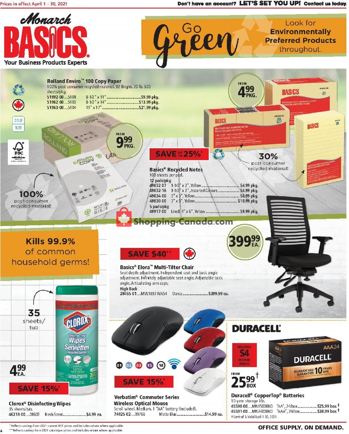 Flyer Basics Office Products Canada - from Thursday April 1, 2021 to Friday April 30, 2021