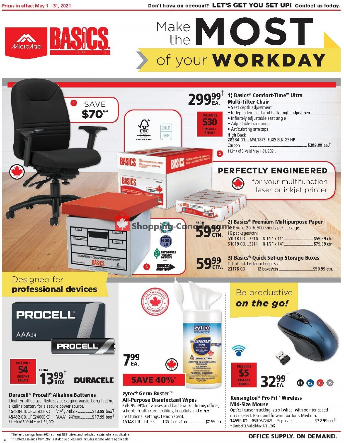 Flyer Basics Office Products Canada - from Saturday May 1, 2021 to Monday May 31, 2021