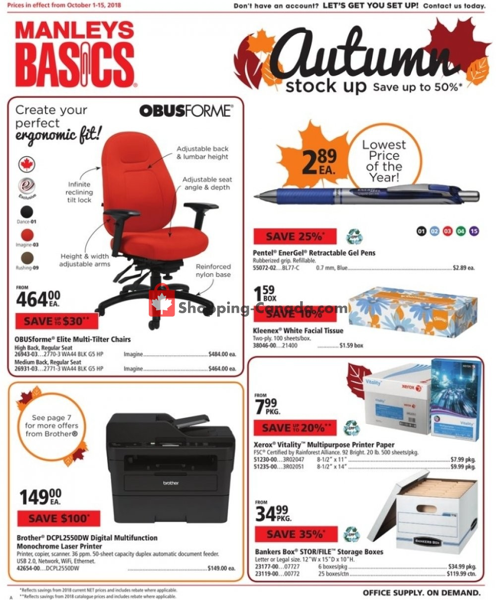 Flyer Basics Office Products Canada - from Monday October 1, 2018 to Tuesday October 16, 2018