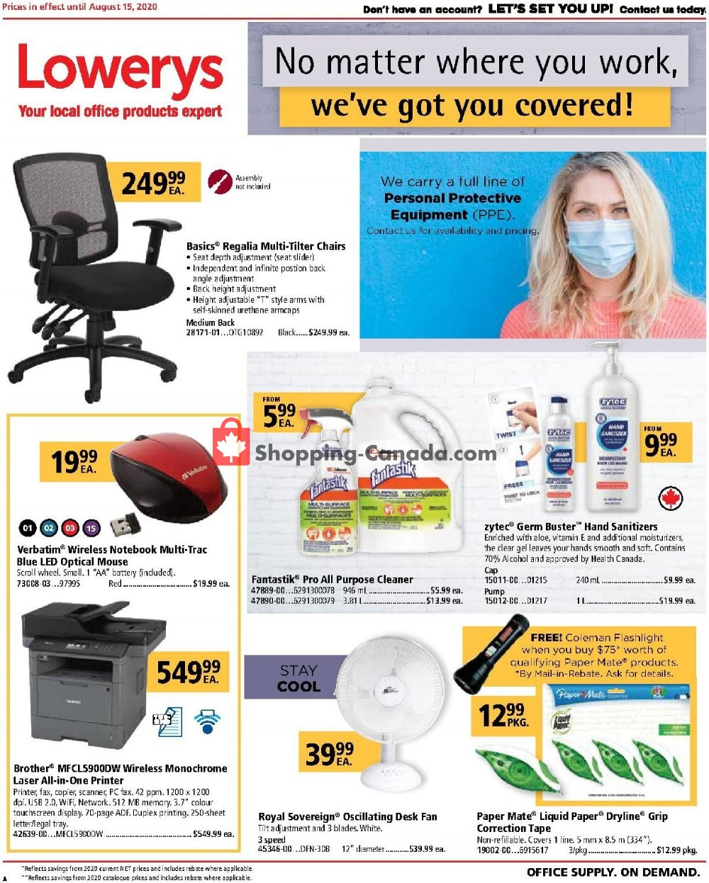 Flyer Basics Office Products Canada - from Saturday August 1, 2020 to Sunday August 16, 2020
