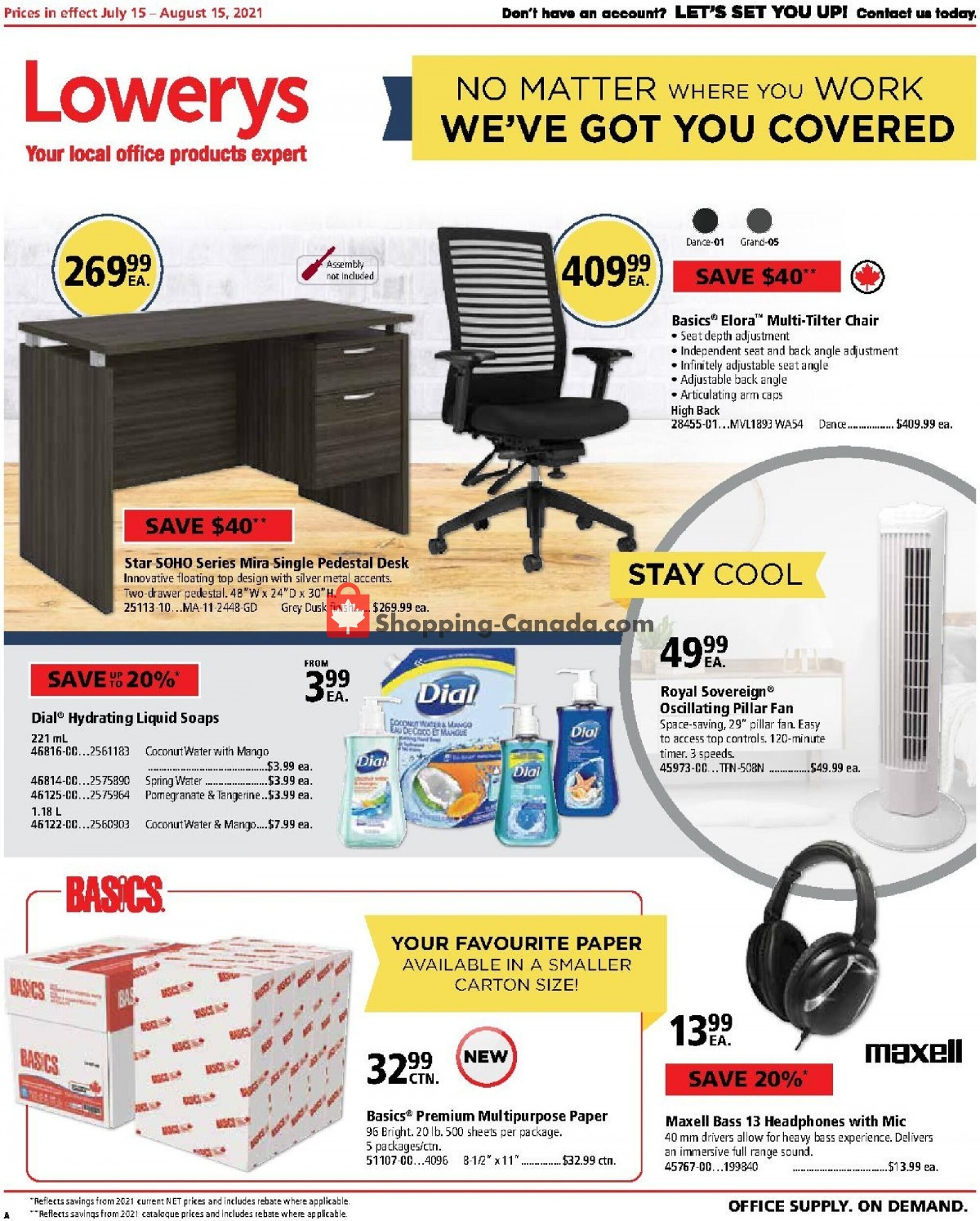 Flyer Basics Office Products Canada - from Thursday July 15, 2021 to Sunday August 15, 2021