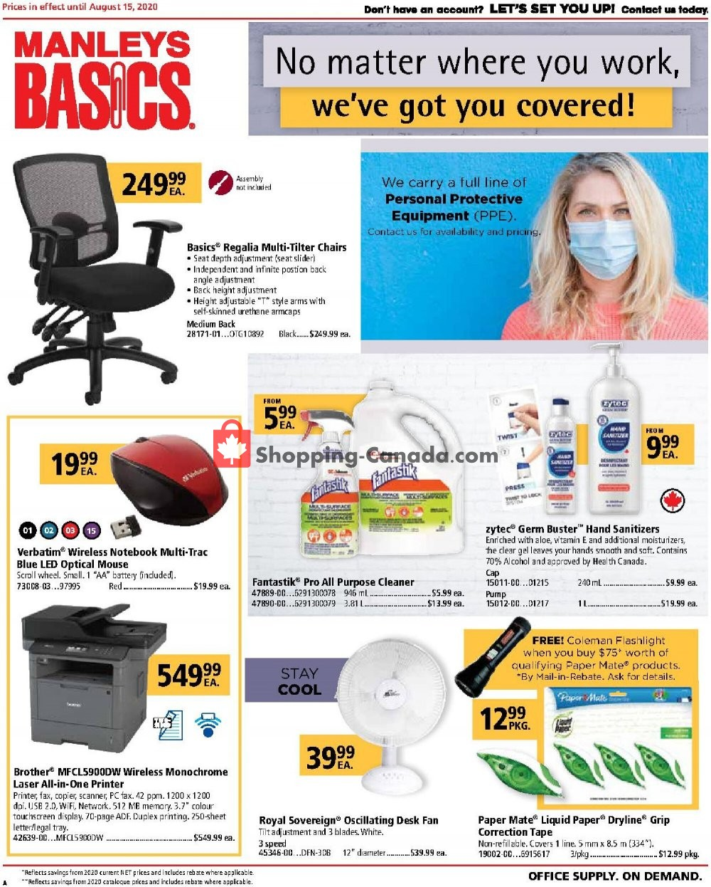 Flyer Basics Office Products Canada - from Saturday August 1, 2020 to Saturday August 15, 2020
