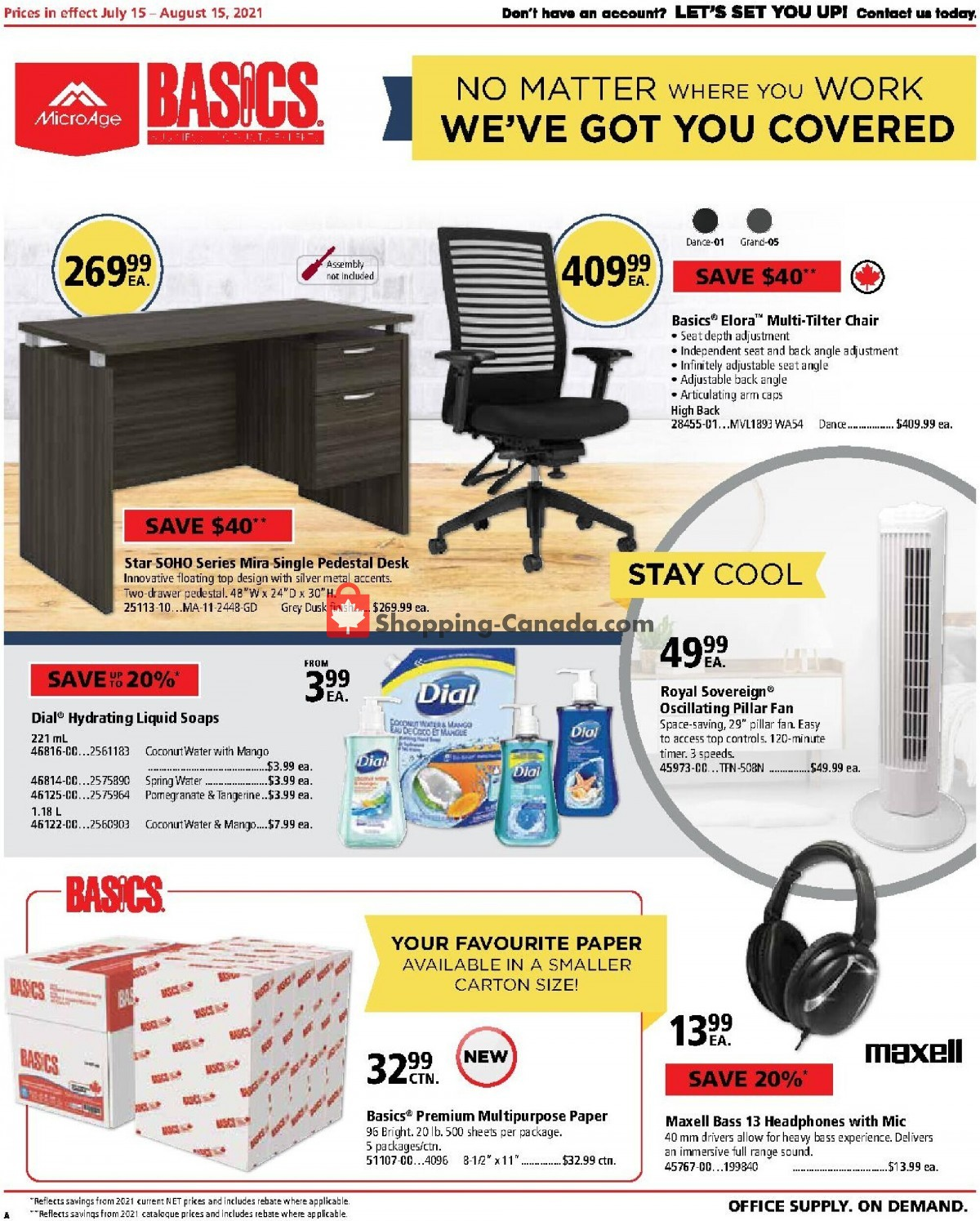 Flyer Basics Office Products Canada - from Thursday July 15, 2021 to Thursday July 15, 2021