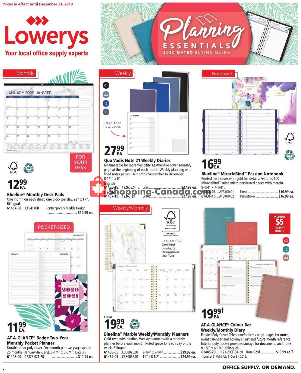 Flyer Basics Office Products Canada - from Monday July 1, 2019 to Tuesday December 31, 2019