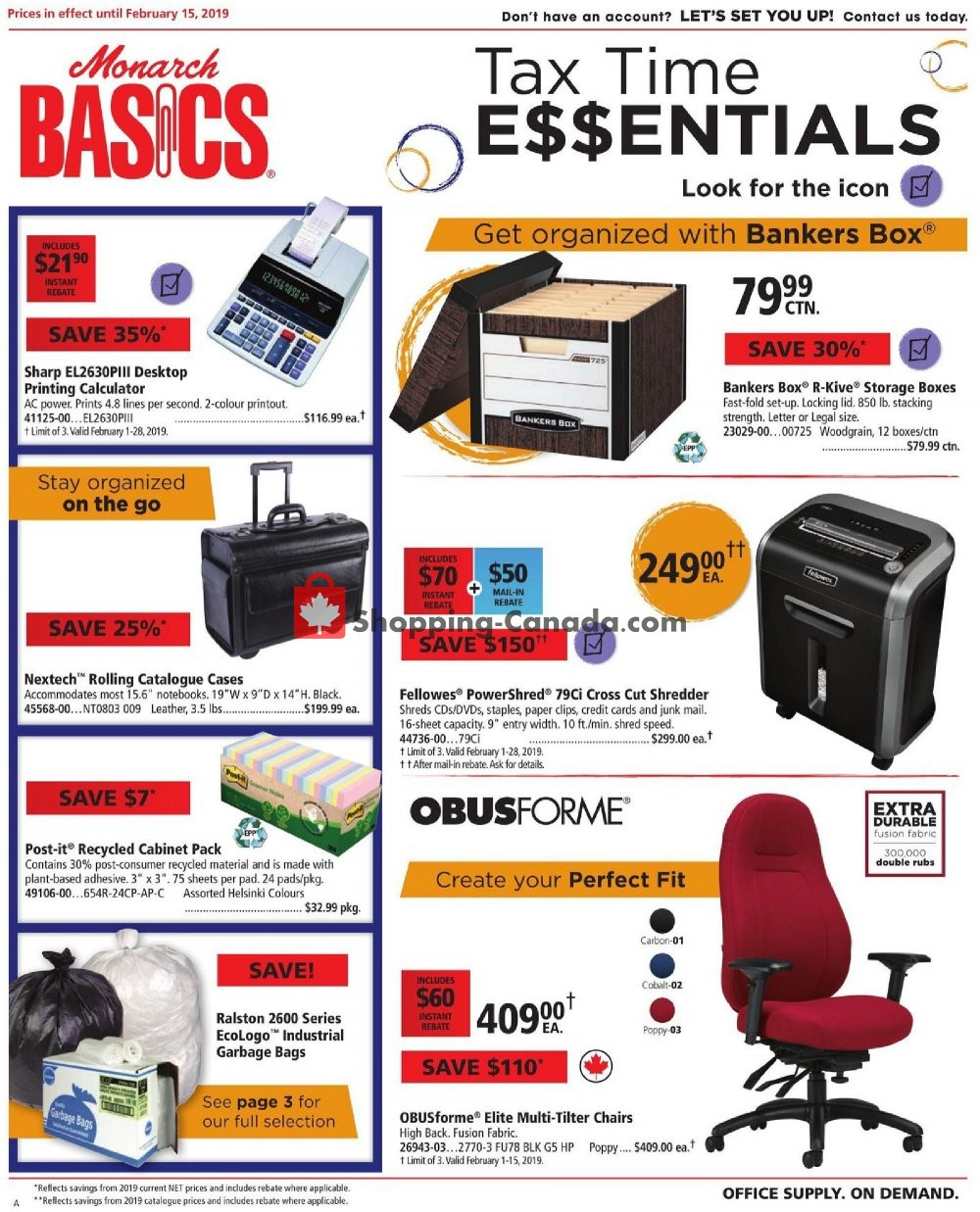 Flyer Basics Office Products Canada - from Friday February 1, 2019 to Friday February 15, 2019