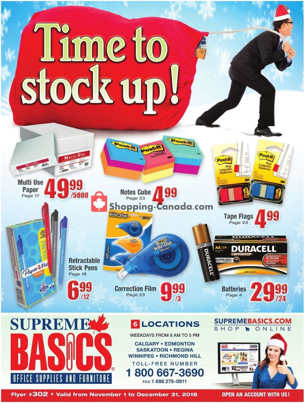 Flyer Basics Office Products Canada - from Thursday November 1, 2018 to Monday December 31, 2018