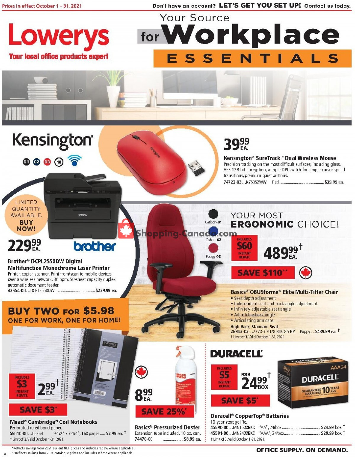 Flyer Basics Office Products Canada - from Friday October 1, 2021 to Sunday October 31, 2021