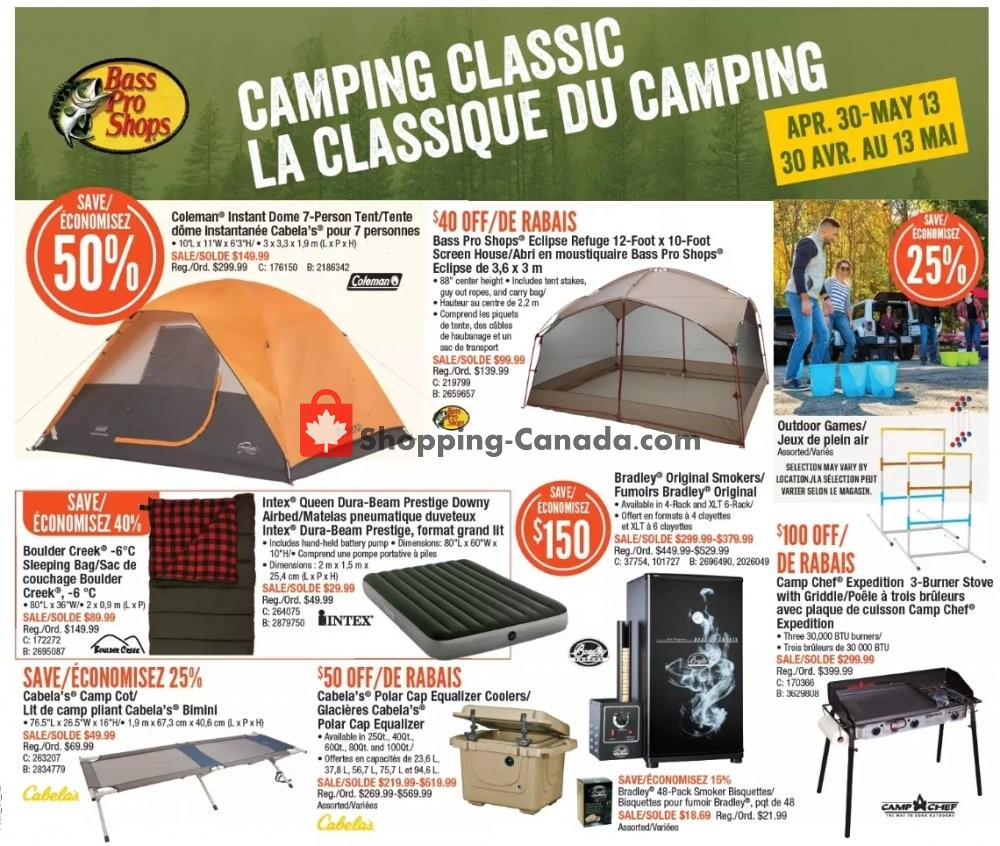 Flyer Bass Pro Shops Canada - from Thursday April 30, 2020 to Wednesday May 13, 2020
