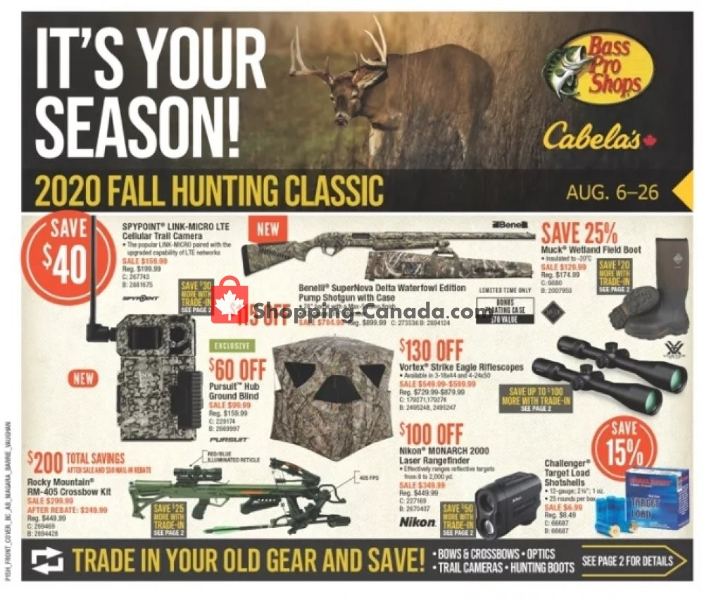 Flyer Bass Pro Shops Canada - from Thursday August 6, 2020 to Wednesday August 26, 2020