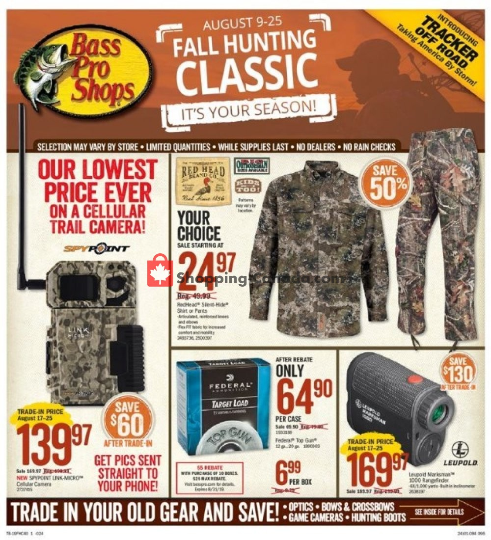 Flyer Bass Pro Shops Canada - from Friday August 9, 2019 to Sunday August 25, 2019