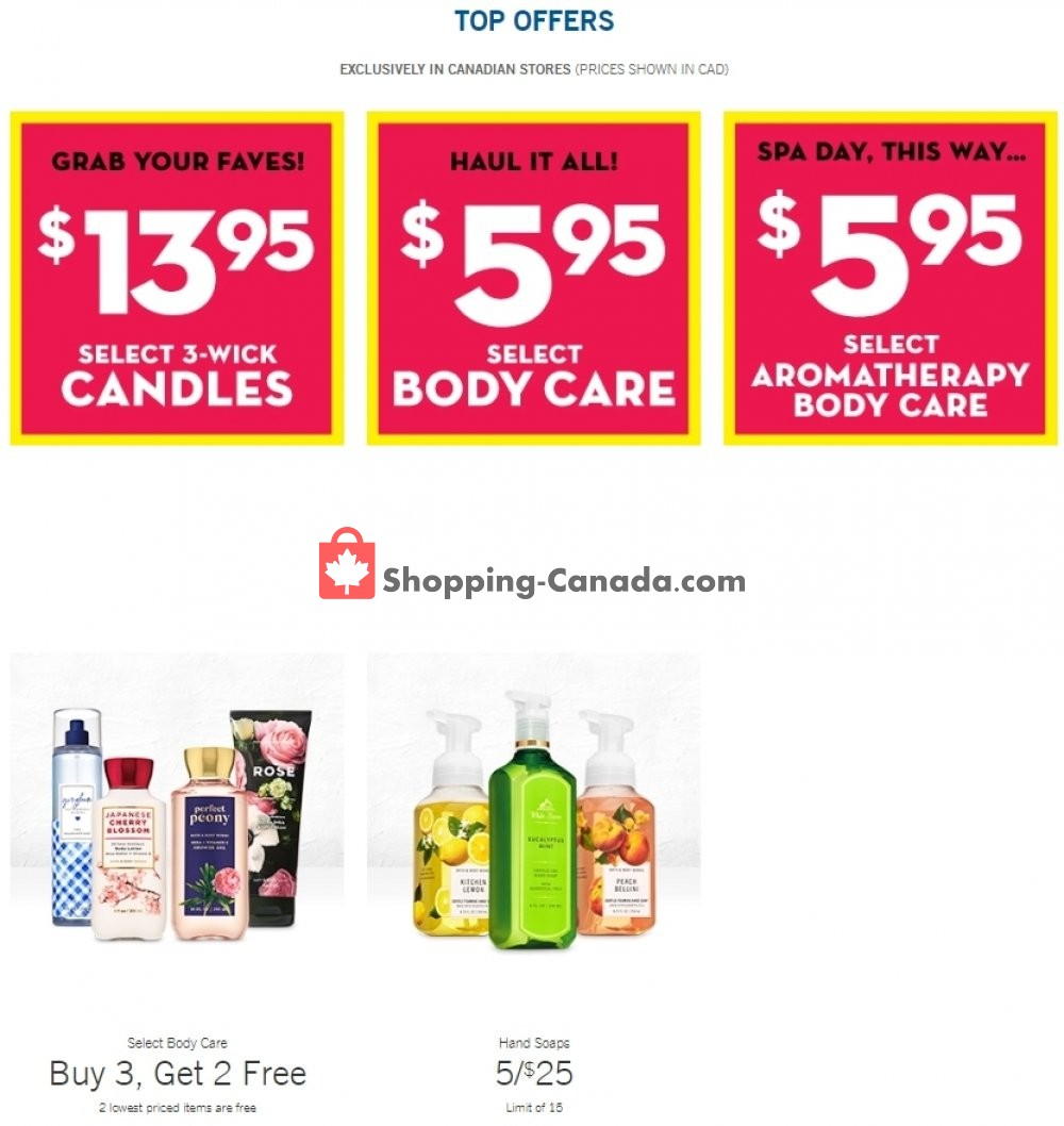 Flyer Bath & Body Works Canada - from Wednesday July 15, 2020 to Tuesday July 21, 2020