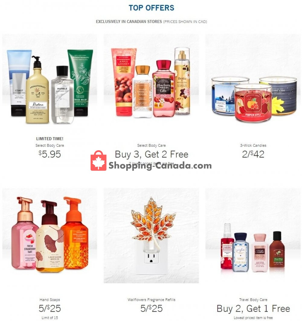 Flyer Bath & Body Works Canada - from Wednesday October 14, 2020 to Tuesday October 20, 2020