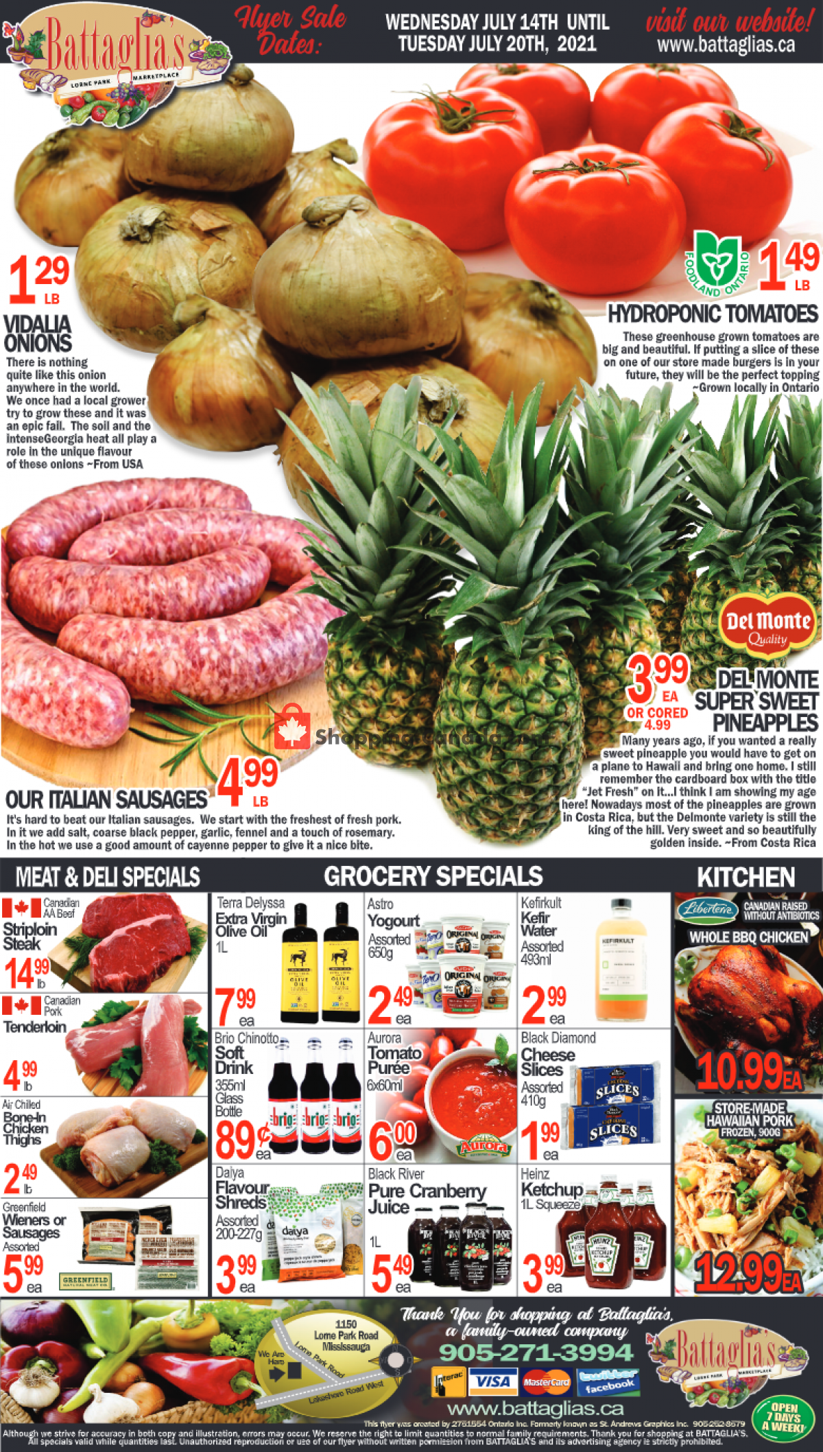 Flyer Battaglia's Marketplace Canada - from Wednesday July 14, 2021 to Tuesday July 20, 2021