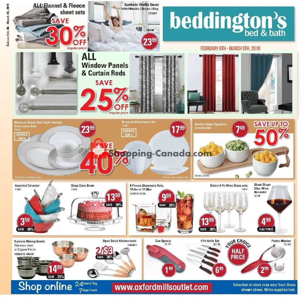 Flyer Beddington's Canada - from Wednesday February 6, 2019 to Tuesday March 5, 2019