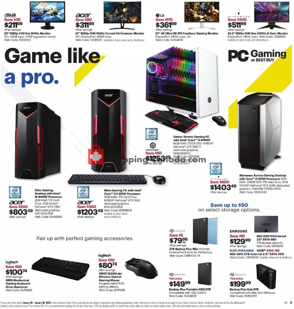 Flyer Best Buy Canada - from Friday January 10, 2020 to Thursday January 16, 2020