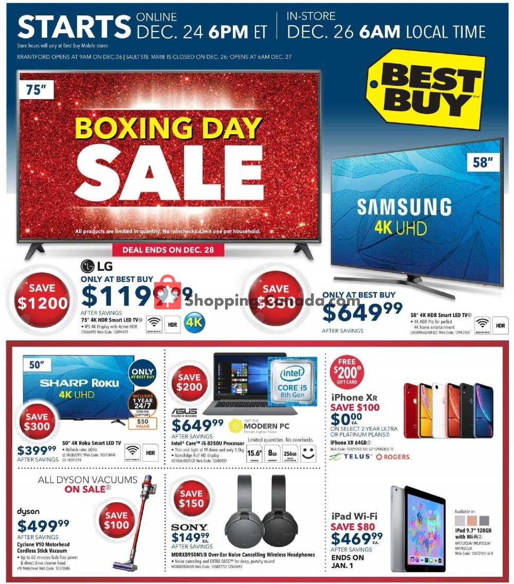 Best Buy Canada Flyer Boxing Day Sale On December 24 January 3 2019 Shopping Canada