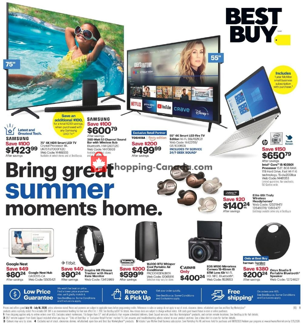 Flyer Best Buy Canada - from Friday July 10, 2020 to Thursday July 16, 2020