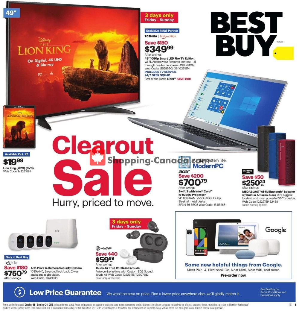 Flyer Best Buy Canada - from Friday October 18, 2019 to Thursday October 24, 2019