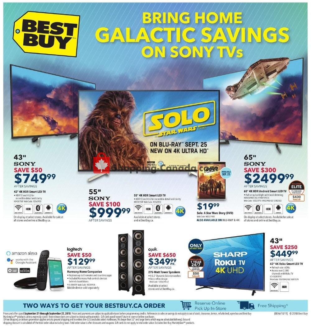 Flyer Best Buy Canada - from Friday September 21, 2018 to Thursday September 27, 2018