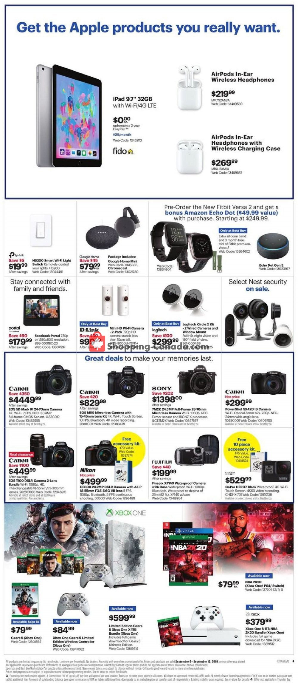 Flyer Best Buy Canada - from Friday September 6, 2019 to Thursday September 12, 2019