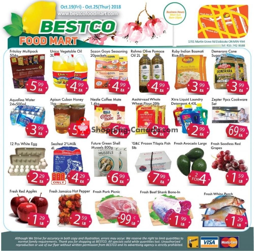 Flyer Bestco Food Mart Canada - from Friday October 19, 2018 to Thursday October 25, 2018