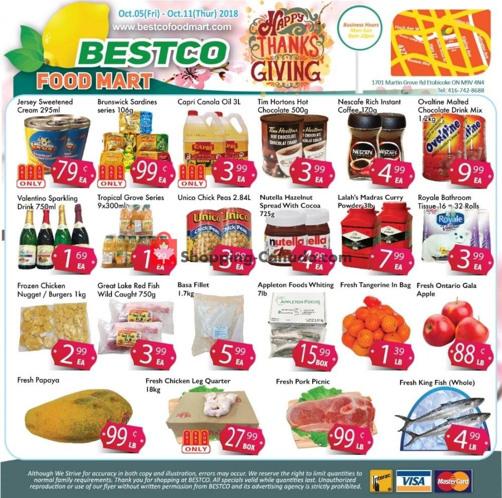 Flyer Bestco Food Mart Canada - from Friday October 5, 2018 to Thursday October 11, 2018
