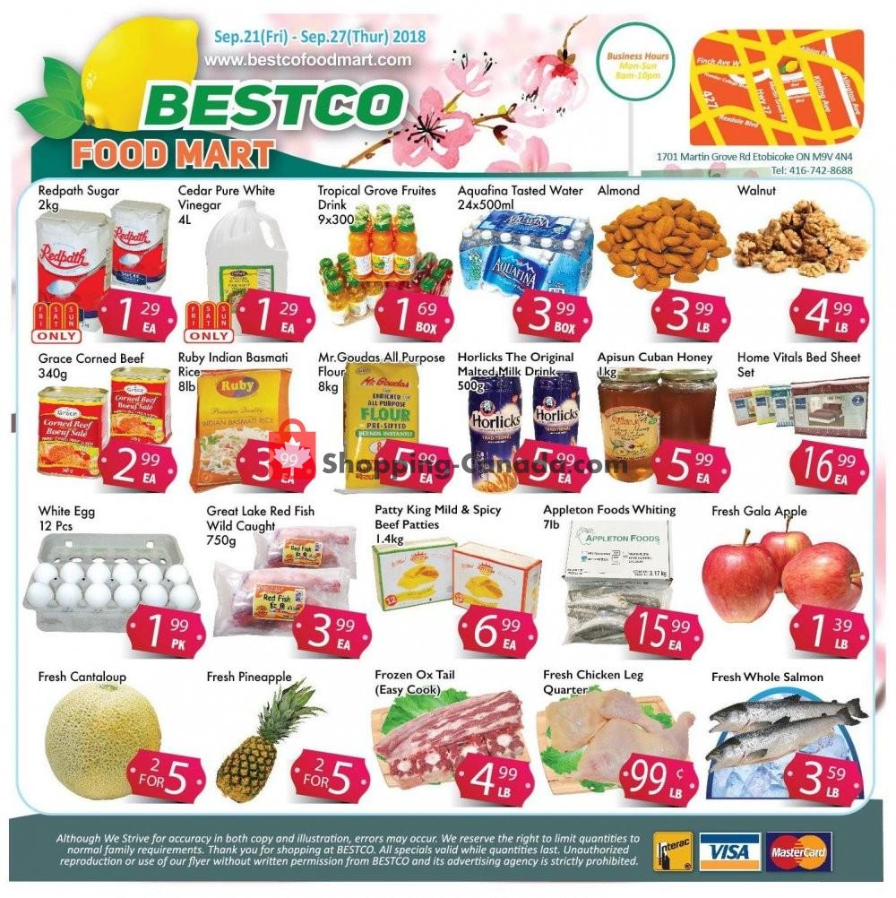Flyer Bestco Food Mart Canada - from Friday September 21, 2018 to Thursday September 27, 2018