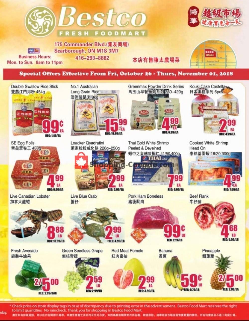 Flyer Bestco Food Mart Canada - from Friday October 26, 2018 to Thursday November 1, 2018