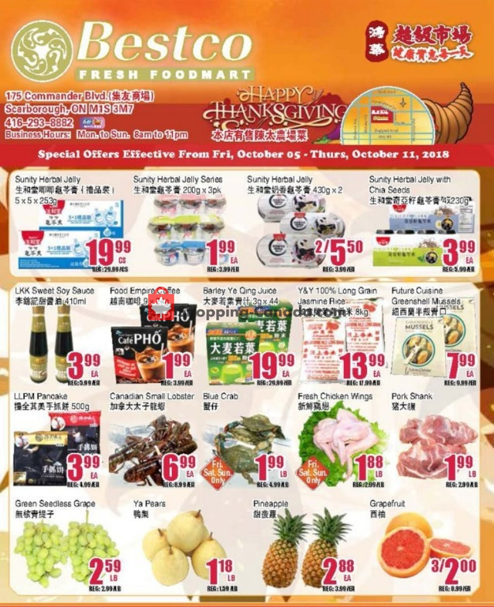Flyer Bestco Food Mart Canada - from Friday October 5, 2018 to Thursday October 11, 2018
