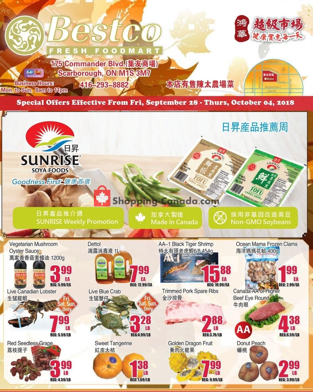 Flyer Bestco Food Mart Canada - from Friday September 28, 2018 to Thursday October 4, 2018