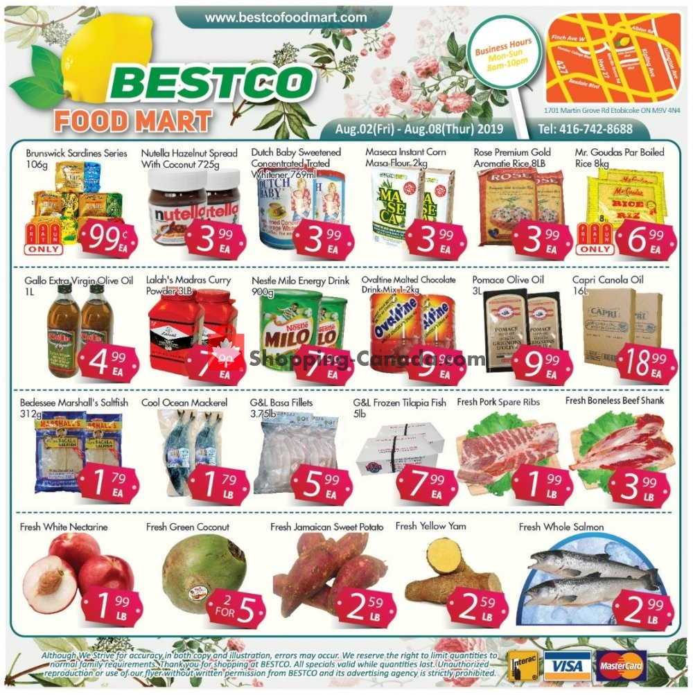Flyer Bestco Food Mart Canada - from Friday August 2, 2019 to Thursday August 8, 2019