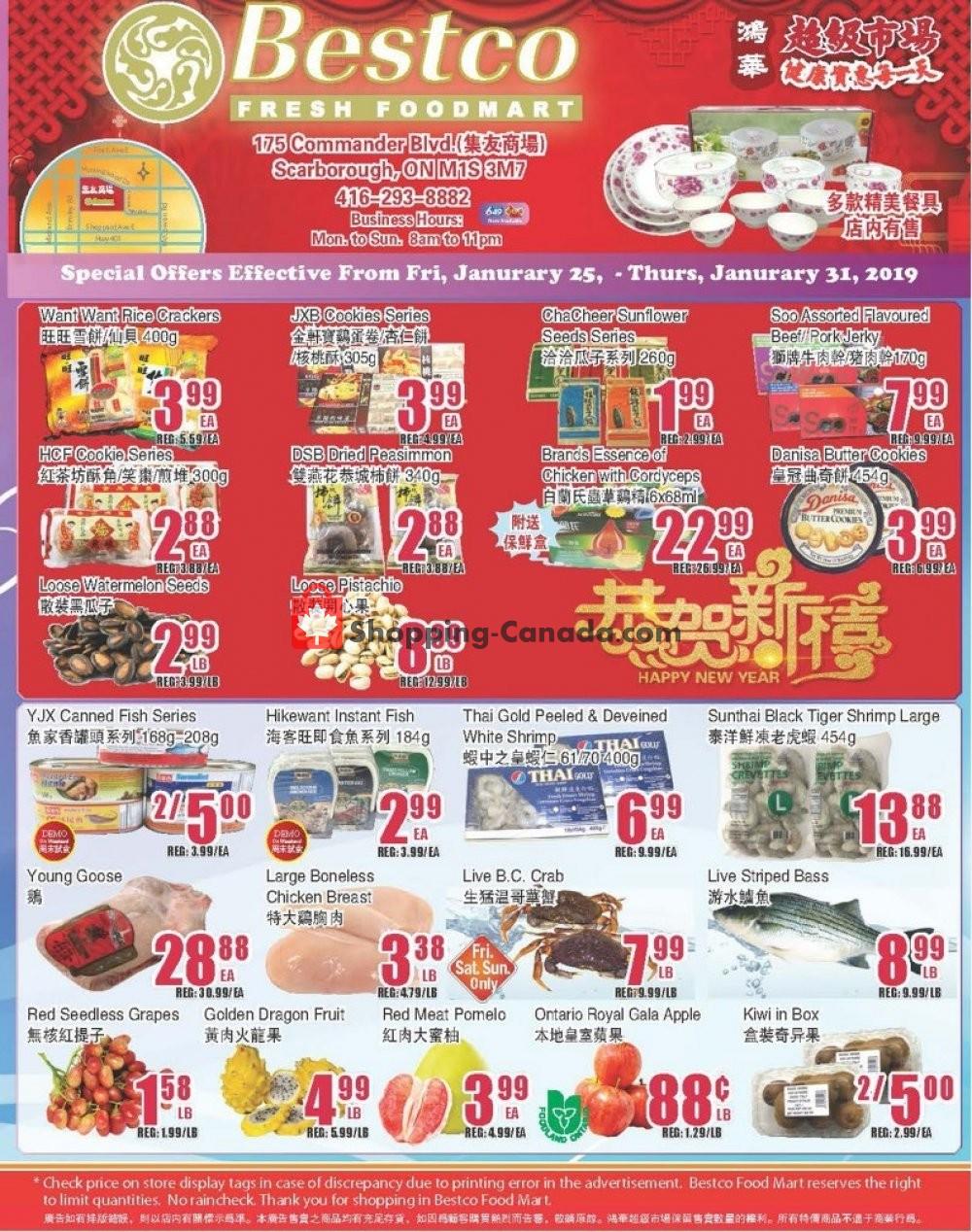 Flyer Bestco Food Mart Canada - from Friday January 25, 2019 to Thursday January 31, 2019