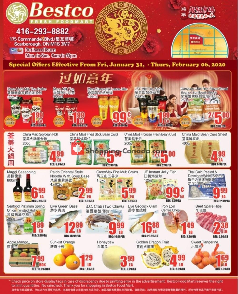 Flyer Bestco Food Mart Canada - from Friday January 31, 2020 to Thursday February 6, 2020