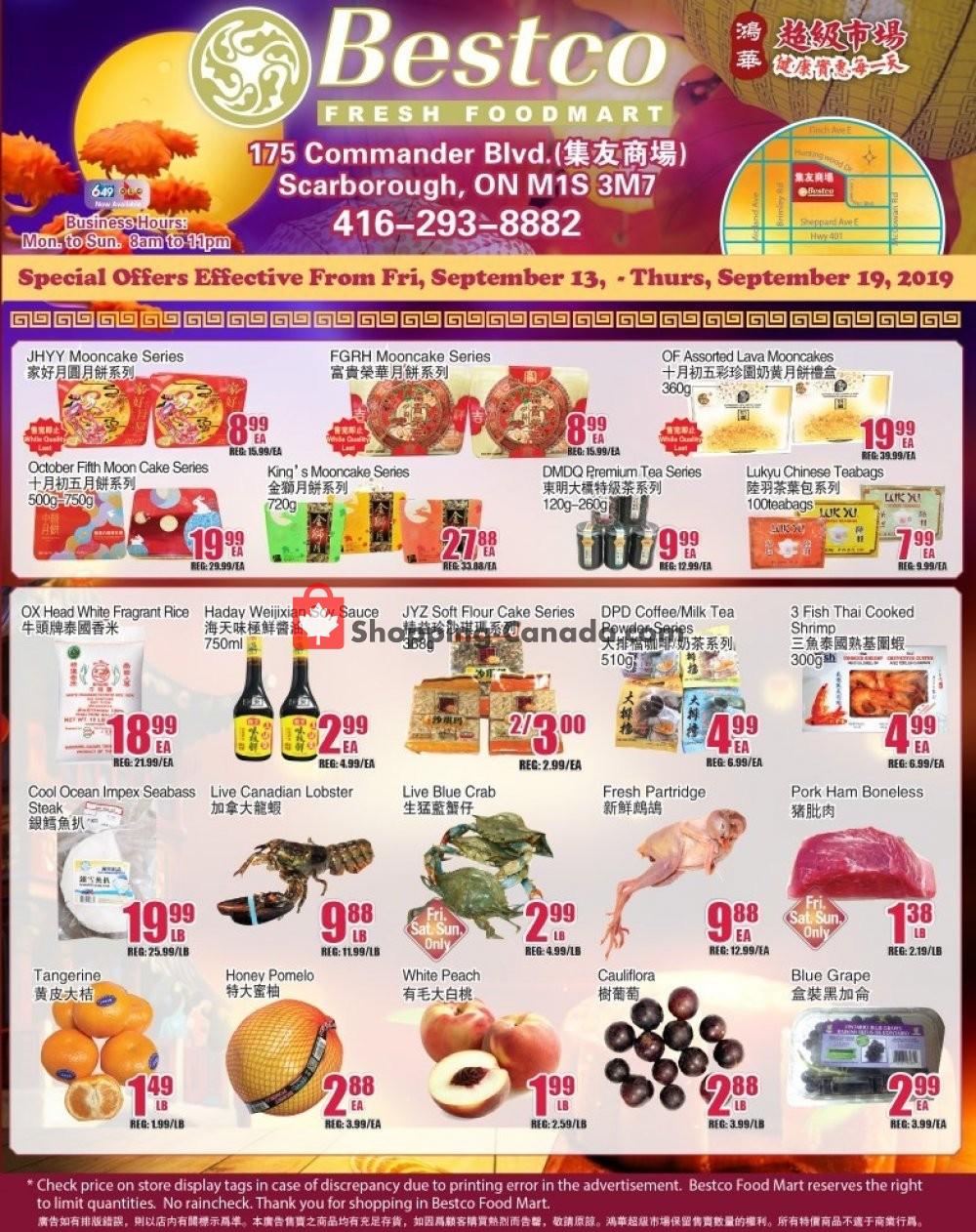 Flyer Bestco Food Mart Canada - from Friday September 13, 2019 to Thursday September 19, 2019