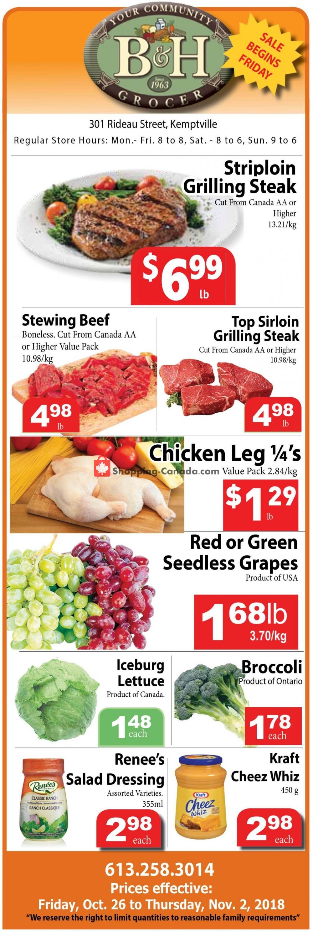 Flyer B&H YOUR COMMUNITY GROCER Canada - from Friday October 26, 2018 to Friday November 2, 2018