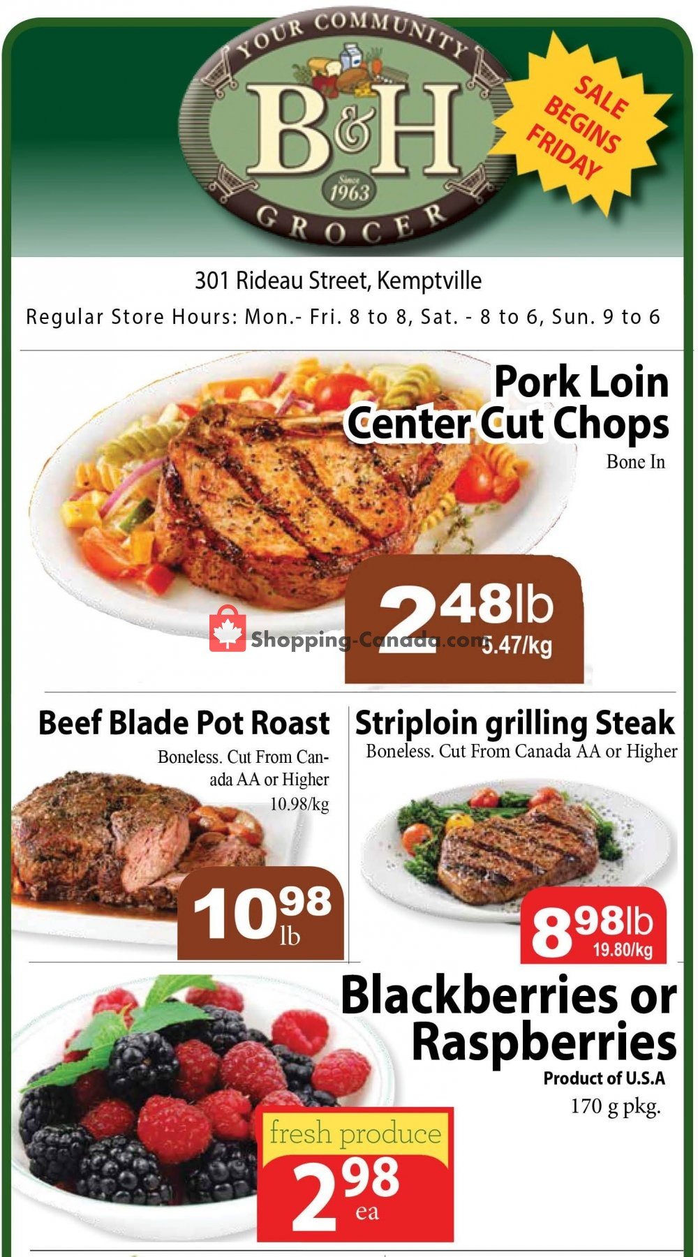 Flyer B&H YOUR COMMUNITY GROCER Canada - from Friday September 14, 2018 to Thursday September 20, 2018