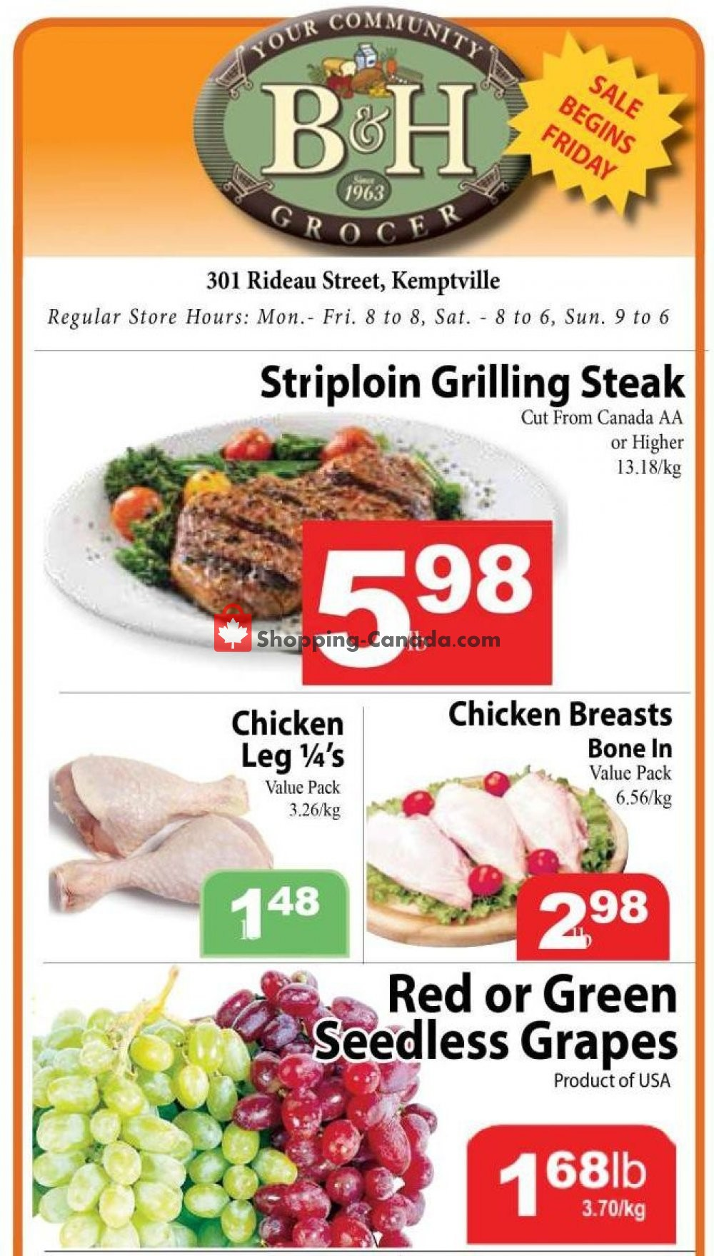 Flyer B&H YOUR COMMUNITY GROCER Canada - from Friday September 28, 2018 to Thursday October 4, 2018
