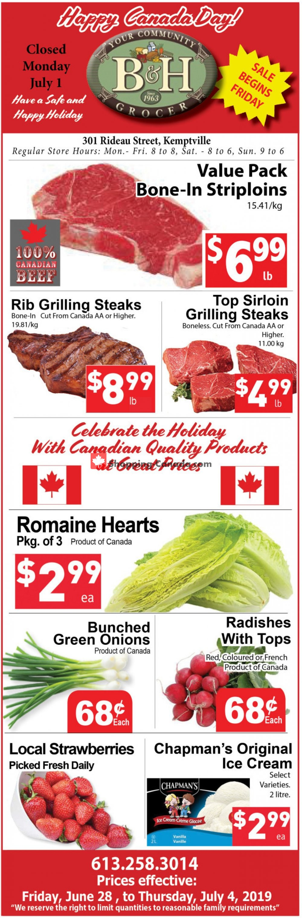 Flyer B&H YOUR COMMUNITY GROCER Canada - from Friday June 28, 2019 to Thursday July 4, 2019