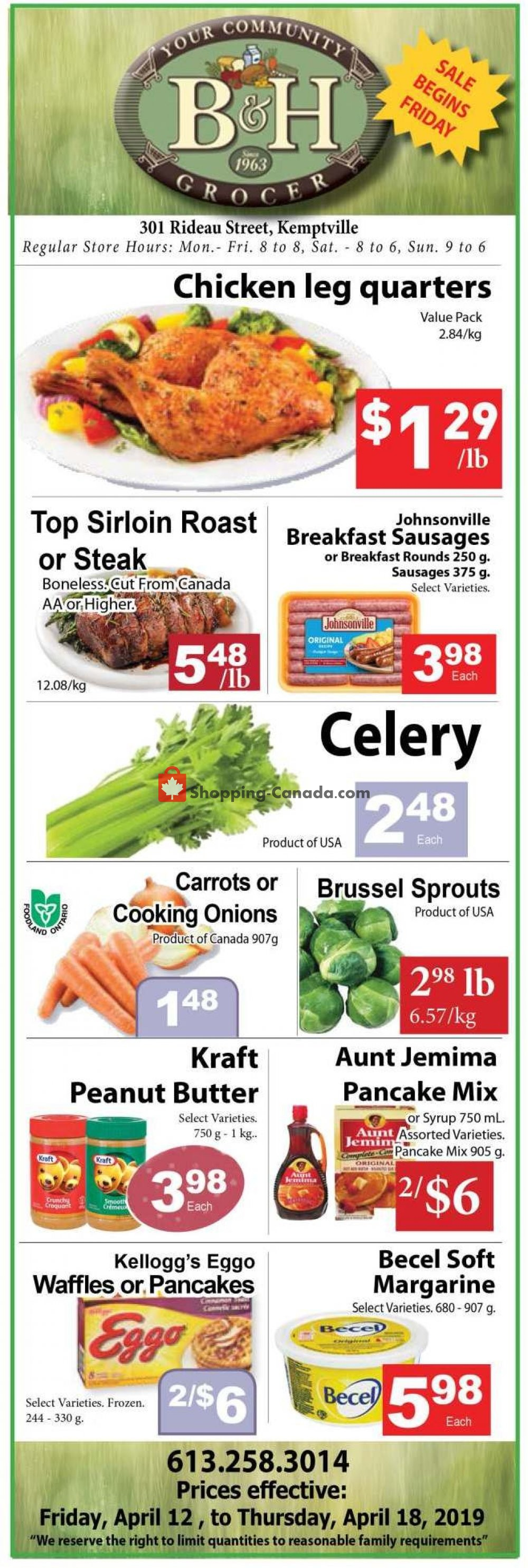 Flyer B&H YOUR COMMUNITY GROCER Canada - from Friday April 12, 2019 to Thursday April 18, 2019