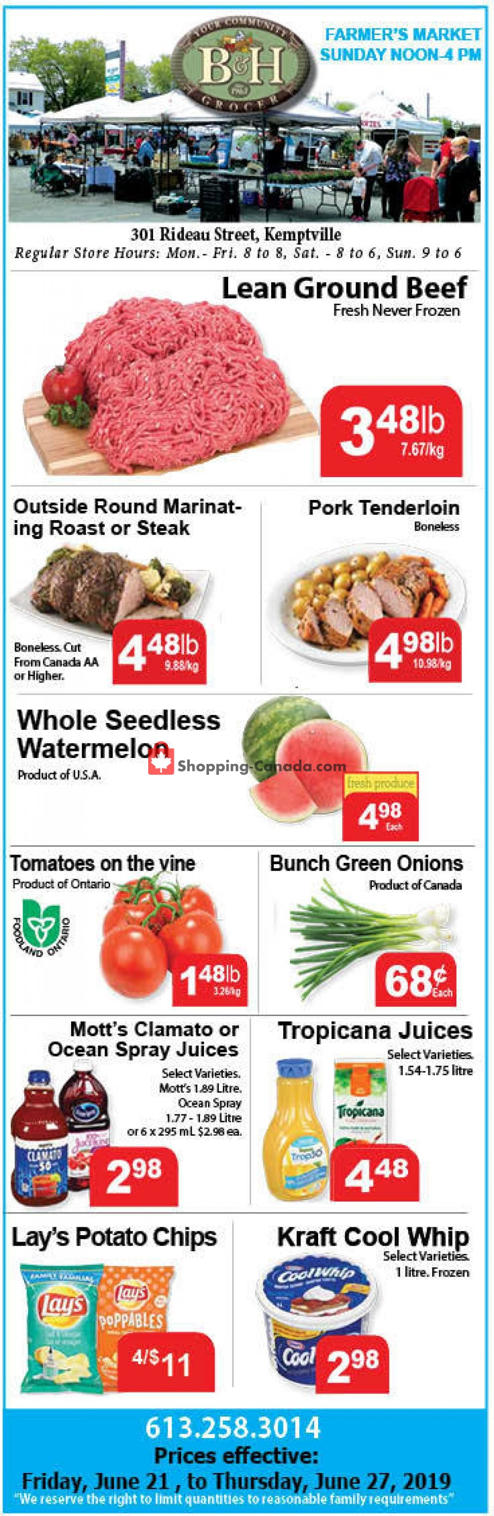 Flyer B&H YOUR COMMUNITY GROCER Canada - from Friday June 21, 2019 to Thursday June 27, 2019