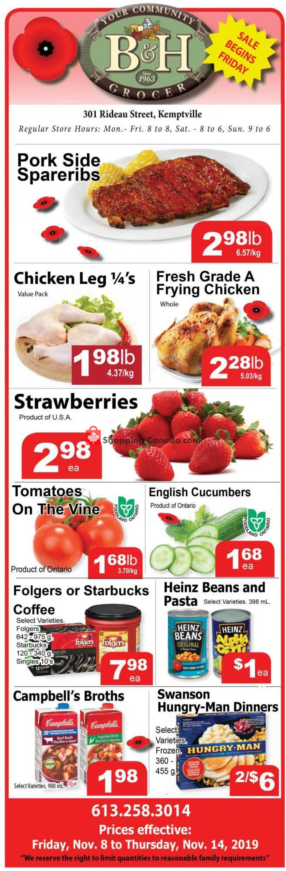Flyer B&H YOUR COMMUNITY GROCER Canada - from Friday November 8, 2019 to Thursday November 14, 2019