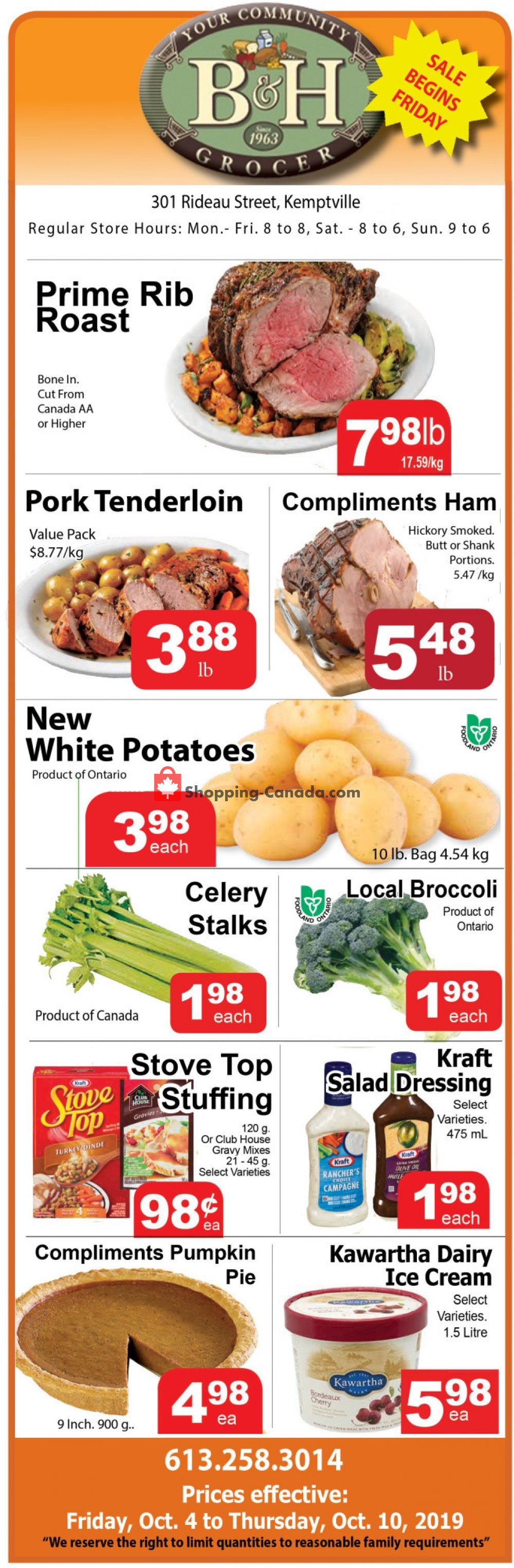 Flyer B&H YOUR COMMUNITY GROCER Canada - from Friday October 4, 2019 to Thursday October 10, 2019