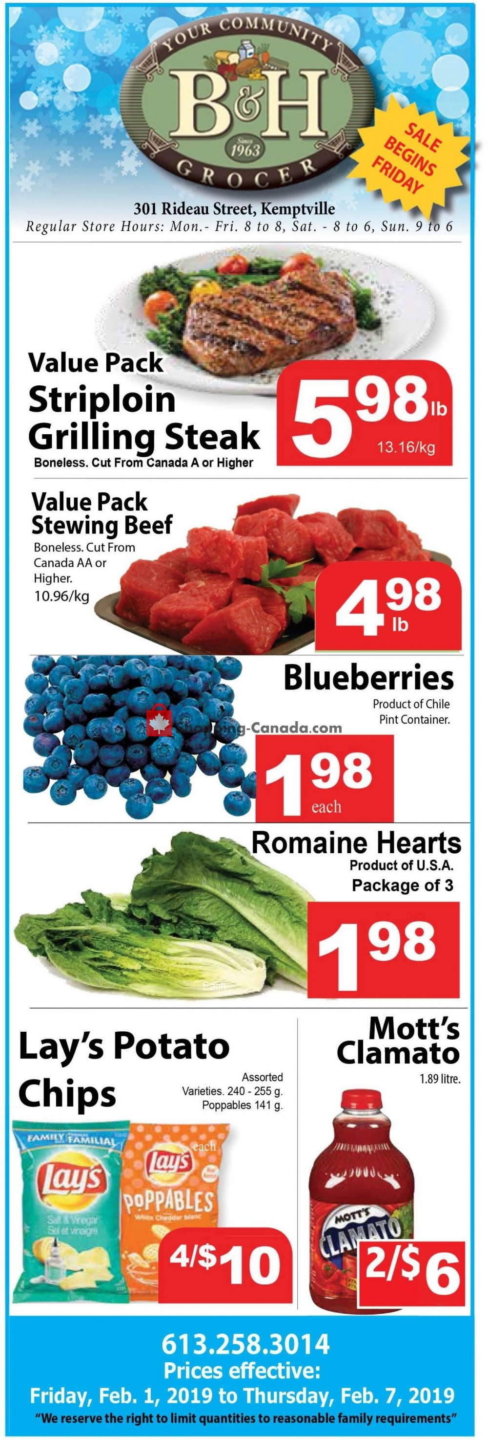 Flyer B&H YOUR COMMUNITY GROCER Canada - from Friday February 1, 2019 to Thursday February 7, 2019