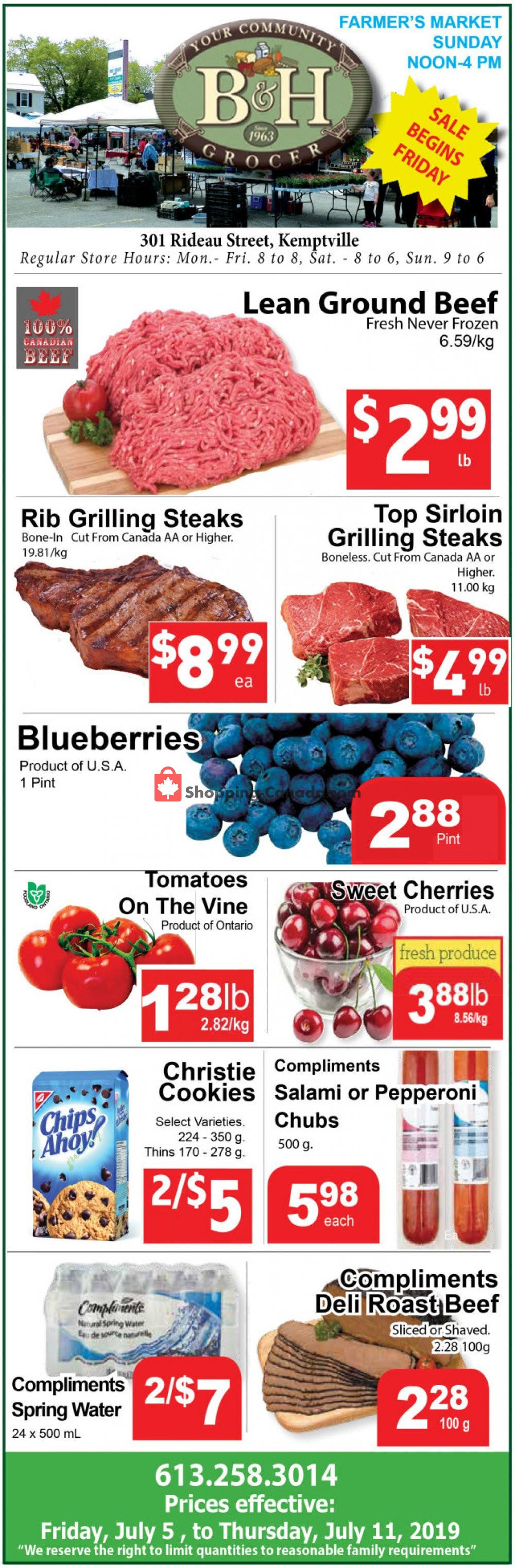 Flyer B&H YOUR COMMUNITY GROCER Canada - from Friday July 5, 2019 to Thursday July 11, 2019
