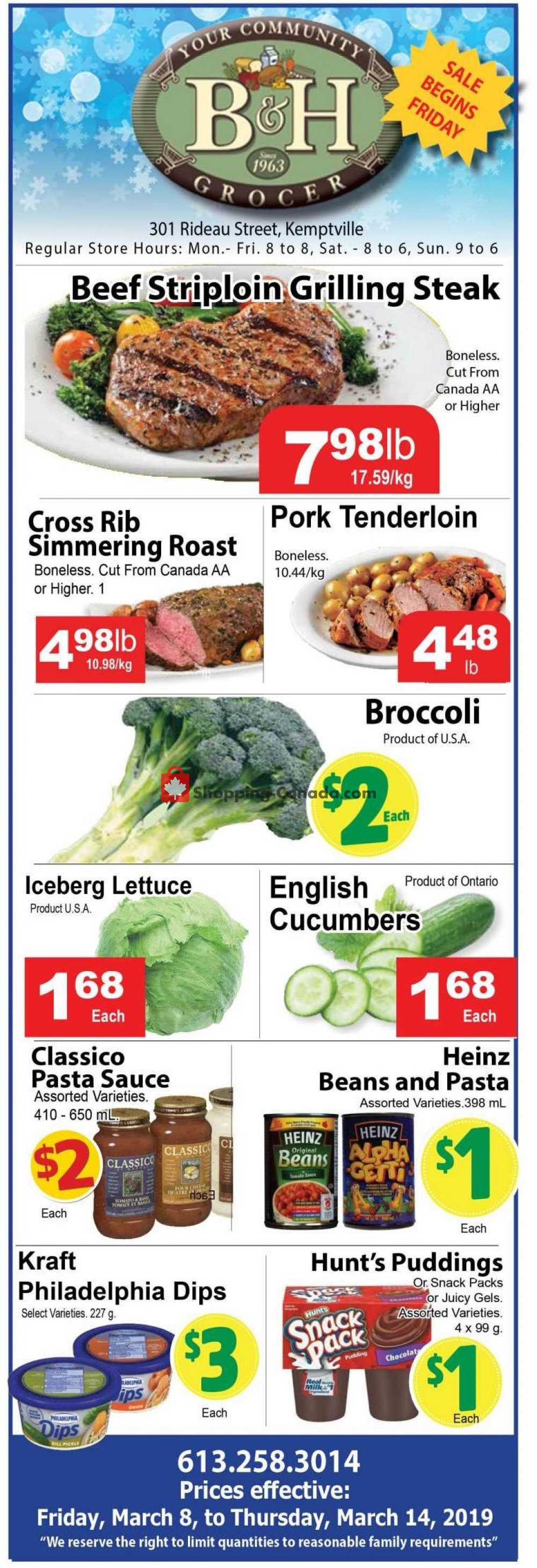 Flyer B&H YOUR COMMUNITY GROCER Canada - from Friday March 8, 2019 to Thursday March 14, 2019