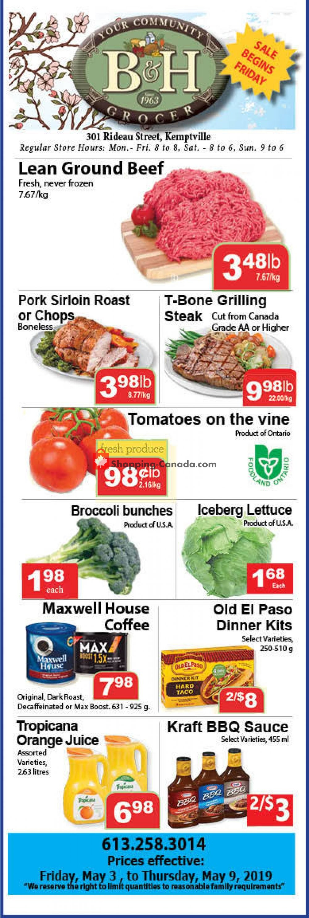 Flyer B&H YOUR COMMUNITY GROCER Canada - from Friday May 3, 2019 to Thursday May 9, 2019
