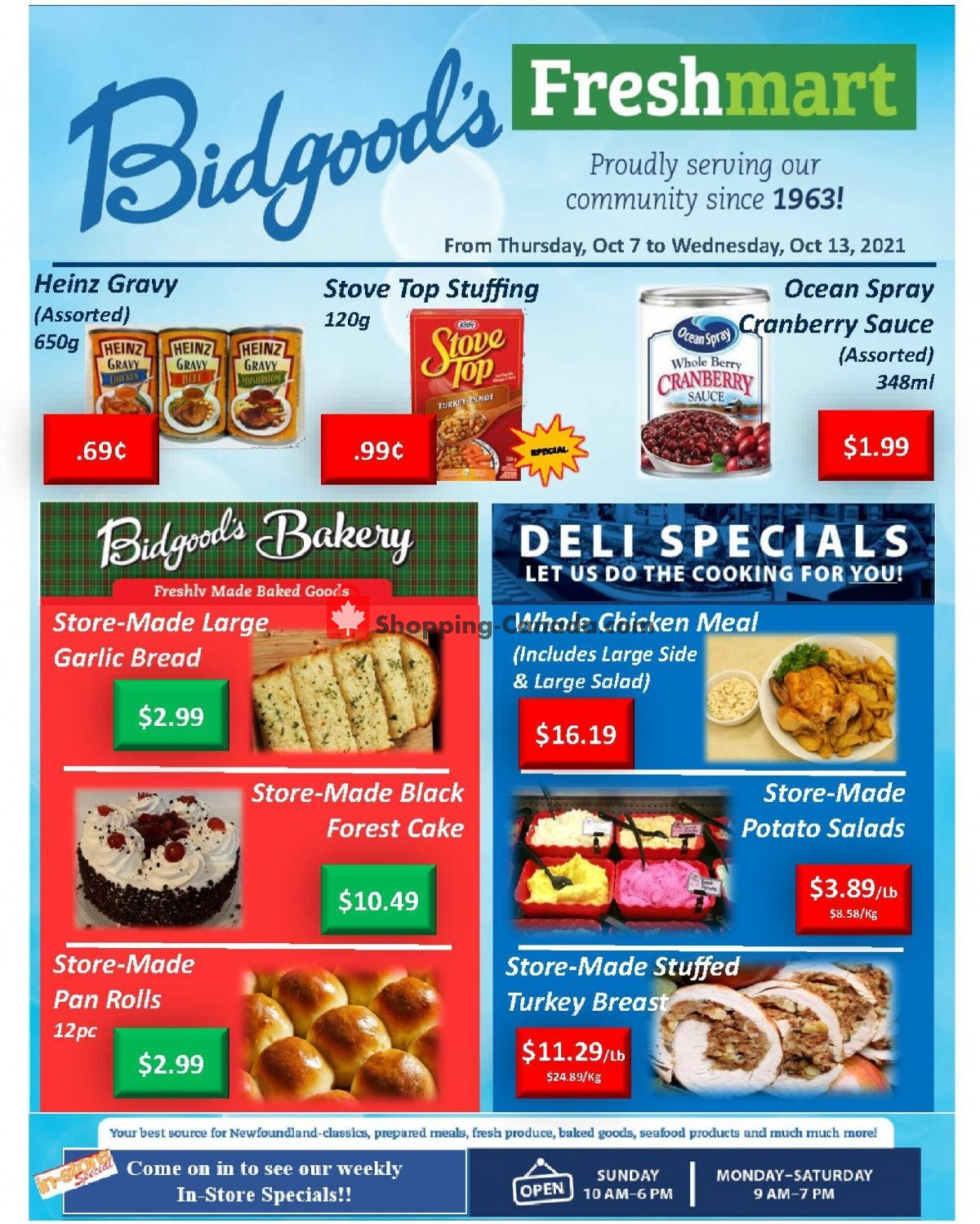 Flyer Bidgood's Supermarket Canada - from Thursday October 7, 2021 to Wednesday October 13, 2021