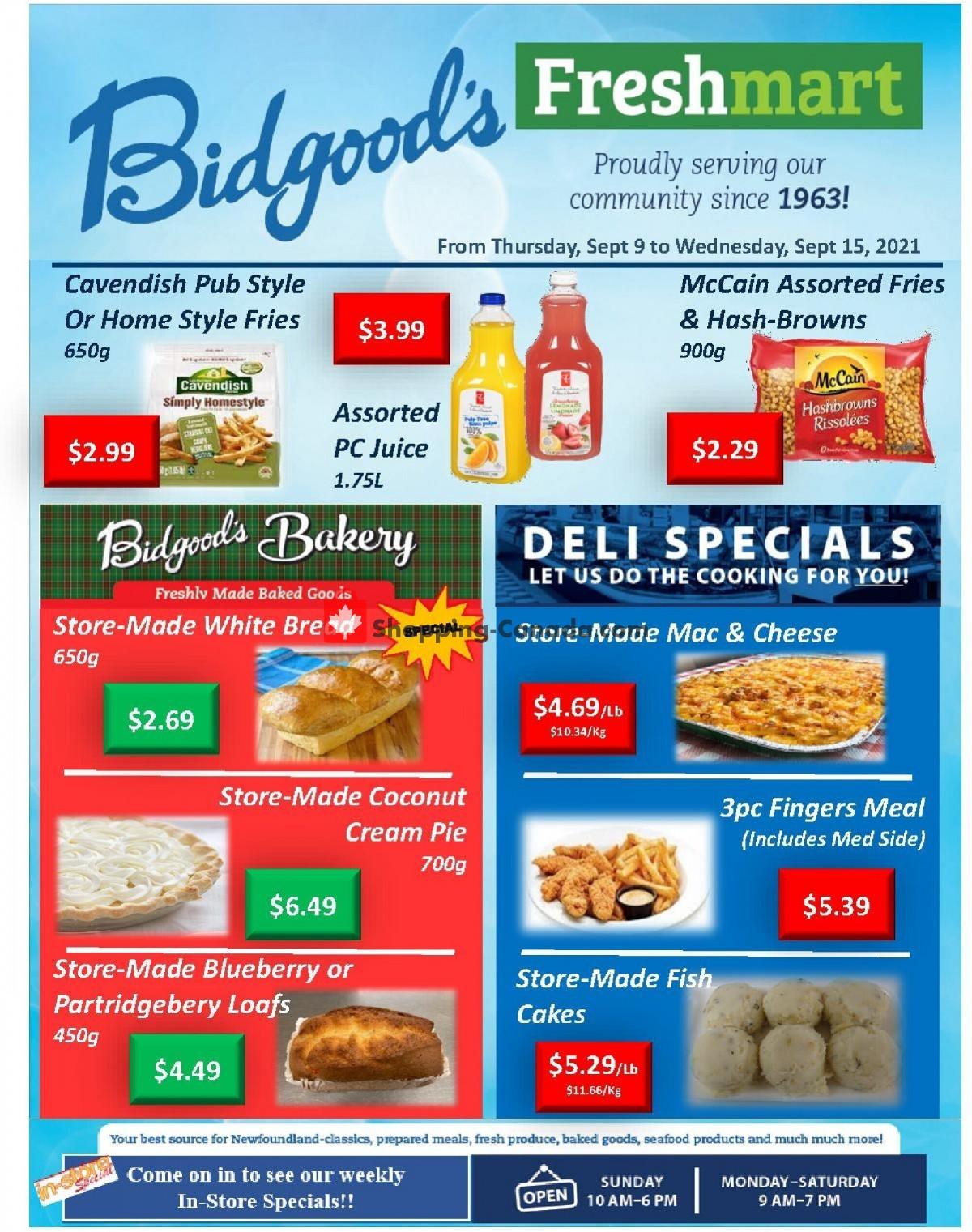 Flyer Bidgood's Supermarket Canada - from Thursday September 9, 2021 to Wednesday September 15, 2021