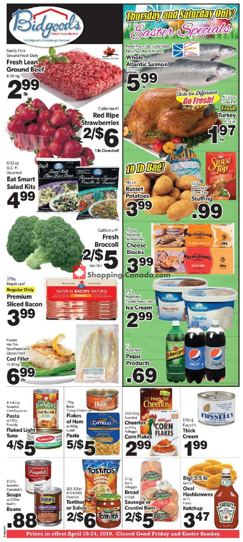 Flyer Bidgood's Supermarket Canada - from Thursday April 18, 2019 to Wednesday April 24, 2019