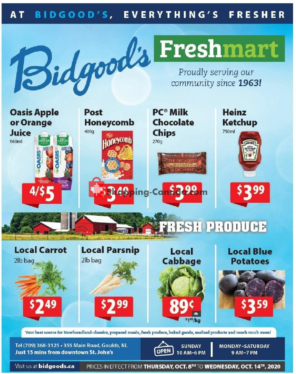 Flyer Bidgood's Supermarket Canada - from Thursday October 8, 2020 to Wednesday October 14, 2020